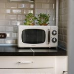 White microwave in the kitchen